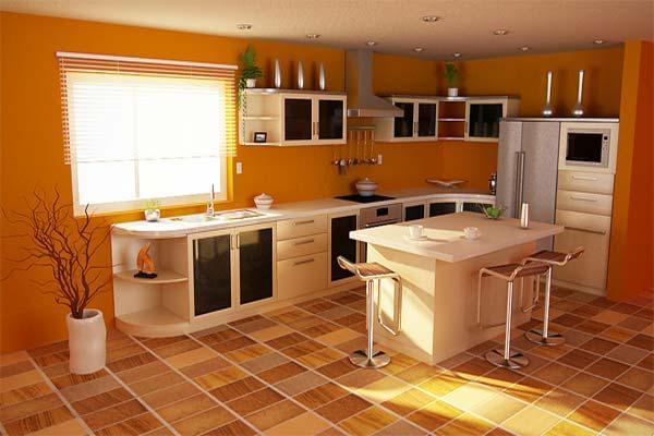 house designs: orange kitchens color schemes
